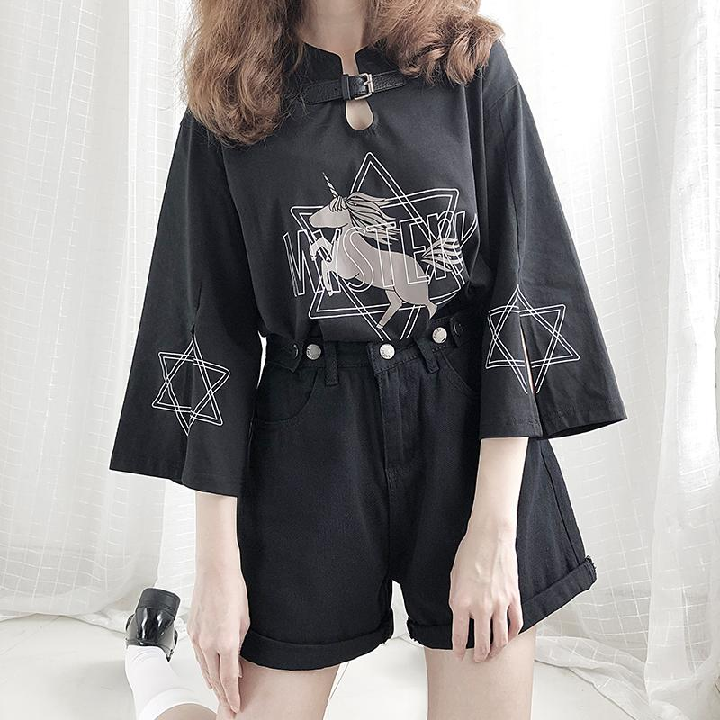 Modakawa T-Shirt Black / One Size MYSTERY Unicorn Star Print Buckle Split T-Shirt