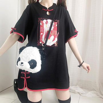 Modakawa T-Shirt Black / One Size Vintage Girl Print Frog Button Oversize T-Shirt Dress