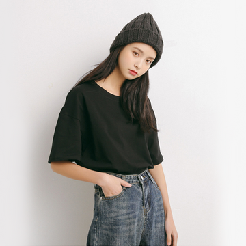 Modakawa T-Shirt Black Pure Color Oversized T-shirt