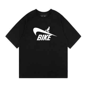 Modakawa T-Shirt Black / S BIKE Letter Sports Tick Print Oversize T-Shirt