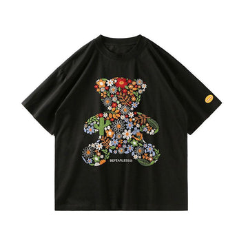 Modakawa T-Shirt Black / S Embroidery Flower Bear Loose T-Shirt