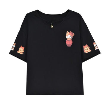 Modakawa T-Shirt Black / S Japanese Cat Print Little Bell T-shirt