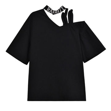Modakawa T-Shirt Black / S RABBIT Letter Halter Ears Off The Shoulder T-Shirt