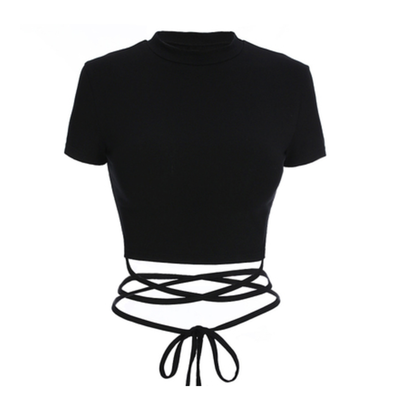 Modakawa T-Shirt Black / S Sexy Lacing T-shirt Short Top Black