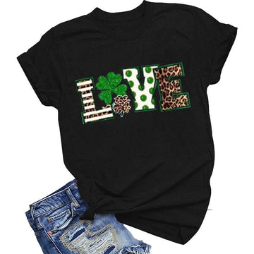 Modakawa T-shirt Black / S St. Patrick's Day Love letter Leopard print Cotton T-Shirt