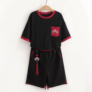 Modakawa T-Shirt Black Set / M Vintage Tassel Pocket T-Shirt Shorts Set