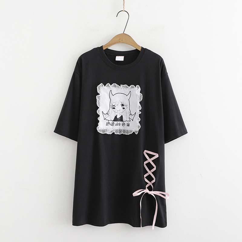 Modakawa T-Shirt Black Short Sleeve Tee Lace Dark Demon Print Loose Dress