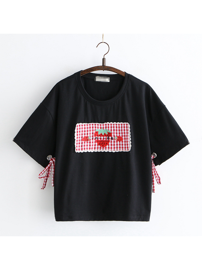 Modakawa T-Shirt Black Strawberry Patch T-shirt