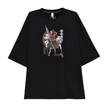Modakawa T-Shirt Black T-shirt / S Fashion Print Loose Round Neck T-shirt Sweatshirt