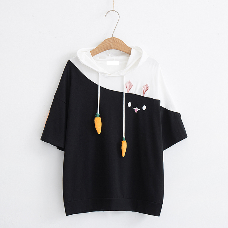 Modakawa T-Shirt Black & White hood / M Rabbit Carrot Drawstrings Cotton Short Sleeve Hooded T-shirt