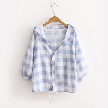 Modakawa T-Shirt Blue Button Down Loose T-Shirt Plaid Bat Sleeve Drawstring