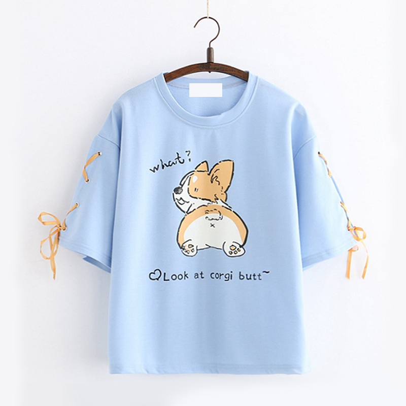 Modakawa T-Shirt Blue Corgi Dog Letter Lace T-shirt