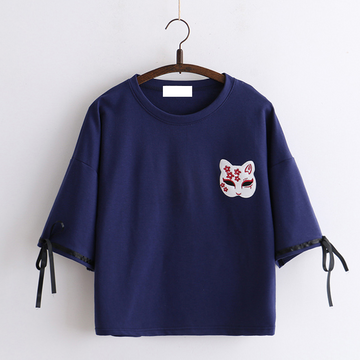 Modakawa T-Shirt Blue Fox Mask Sakura Embroidery T-shirt Bow Knot