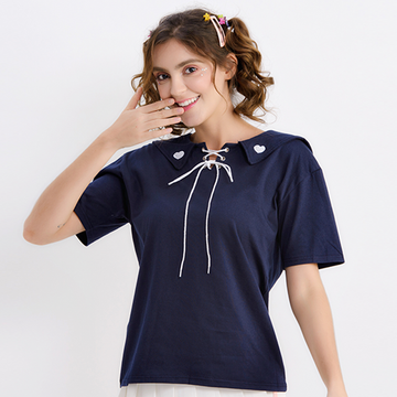 Modakawa T-Shirt Blue Heart Embroidery Navy collar T-shirt