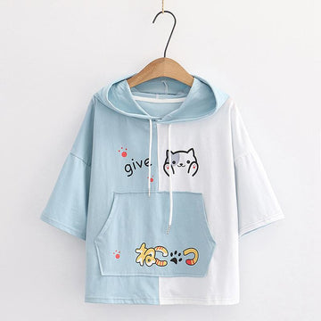 Modakawa T-Shirt Blue / M Japanese Cat Letter Print Color Block Hooded T-Shirt