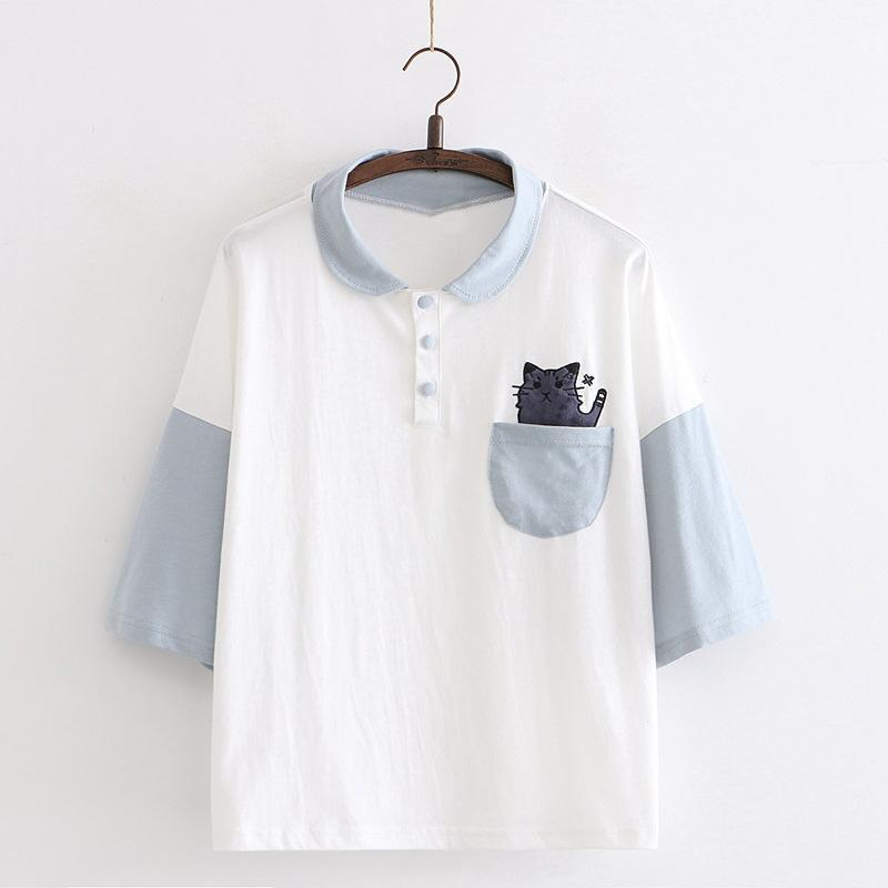 Modakawa T-Shirt Blue / One Size Cat Pocket College Style Polo T-shirt