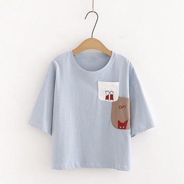 Modakawa T-Shirt Blue / One Size CATS Letter Embroidery Pocket T-shirt