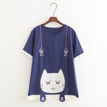 Modakawa T-Shirt Blue / One Size Cute Cat Claw Fish Embroidery T-shirt
