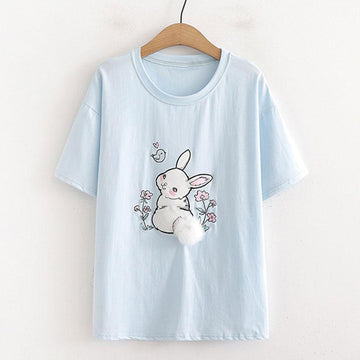 Modakawa T-Shirt Blue / One Size Fluffy Rabbit Tail Loose T-Shirt
