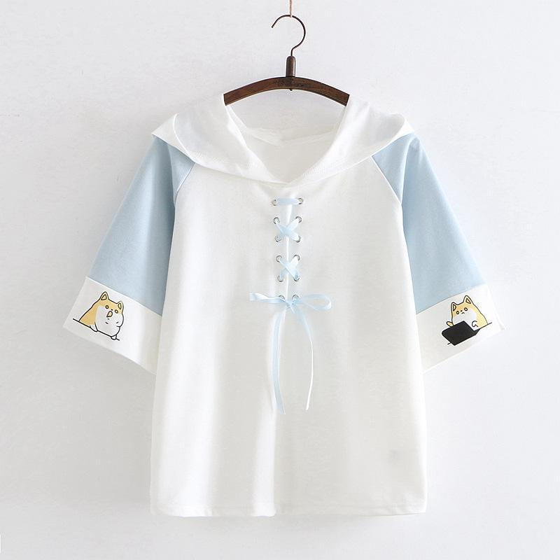 Modakawa T-Shirt Blue / One Size Puppy Print Lace Up Hooded T-shirt