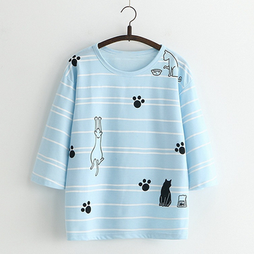 Modakawa T-Shirt Blue Stripe T-Shirt Tee Cat Claw Print Loose Casual Cotton