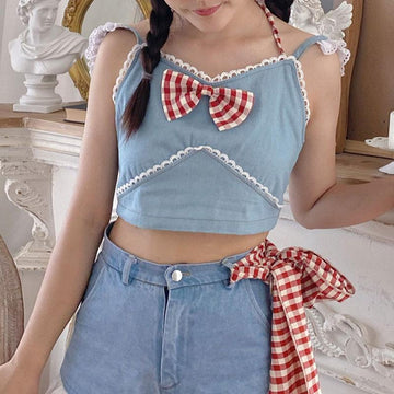 Modakawa T-shirt Bow Denim Tank Top shirt Skirt Shorts