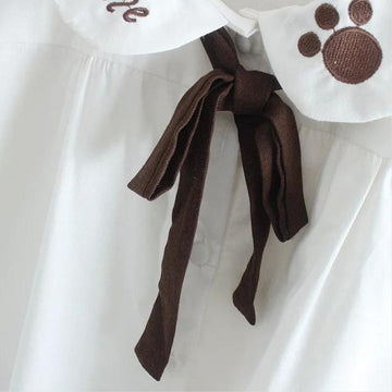 Modakawa T-Shirt Bow Knot Bear Paw Doll Collar T-Shirt