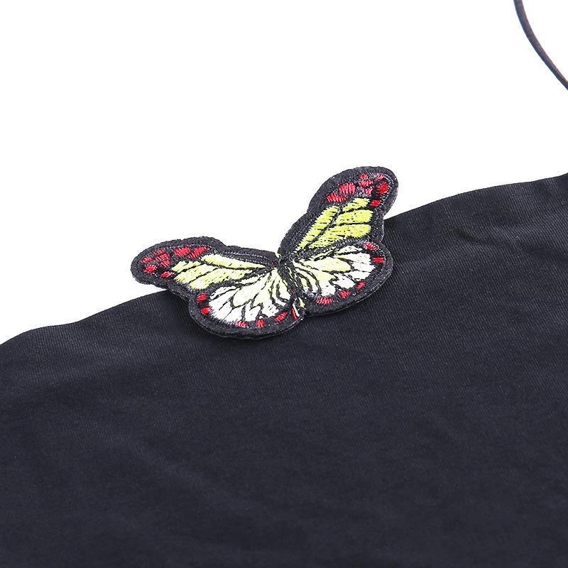 Modakawa T-Shirt Butterfly Embroidery Crop Suspenders Tank Top