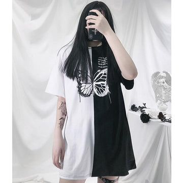 Modakawa T-Shirt Butterfly Print Color Block Oversize T-Shirt Dress