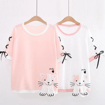Modakawa T-Shirt Cartoon Cat Embroidered Lace Up T-shirt