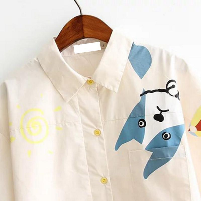 Modakawa T-Shirt Cartoon Print T-Shirt Loose Tee