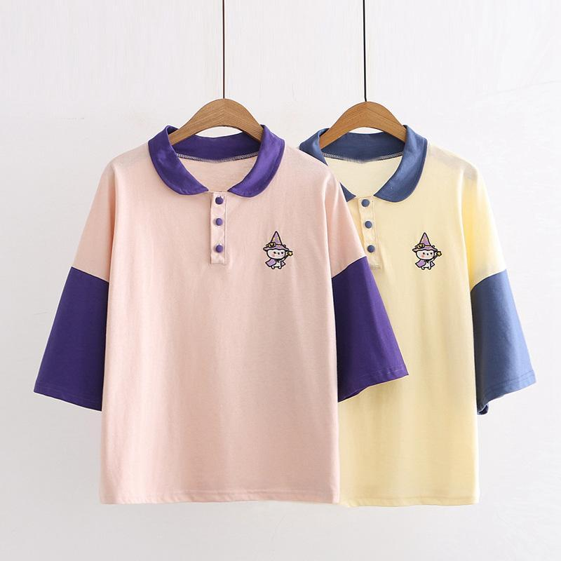 Modakawa T-Shirt Cartoon Witch Embroidery College Style Polo T-shirt
