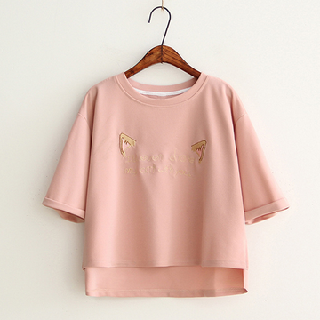Modakawa T-Shirt Cat Ears Letter Embroidery Irregular T-Shirt