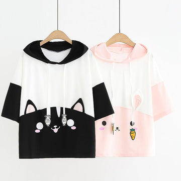 Modakawa T-Shirt Cat Eats Fish Rabbit Carrot Print Hooded T-shirt
