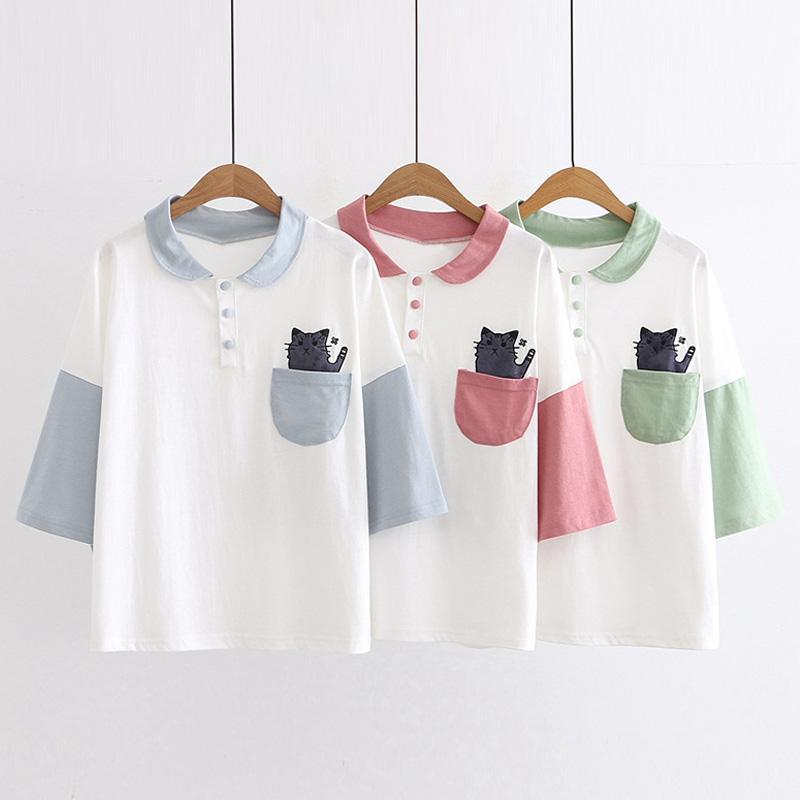 Modakawa T-Shirt Cat Pocket College Style Polo T-shirt