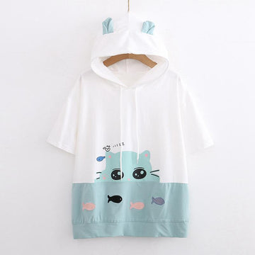 Modakawa T-Shirt Cat Print Fish Embroidery Color Block Ears Hooded T-Shirt