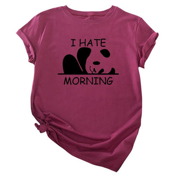Modakawa T-Shirt Claret / S I HATE MORNING Letter Panda Print Cotton T-Shirt