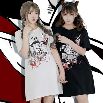Modakawa T-Shirt Clown Bloody Poker Print Oversize T-Shirt Dress