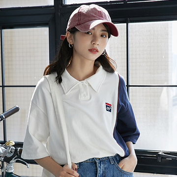 Modakawa T-Shirt Color Block Polo T-Shirt Tee Letter College Style