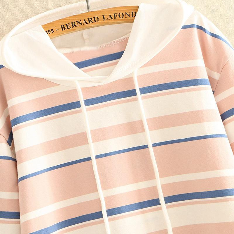 Modakawa T-Shirt Color Block Stripe Print T-shirt Drawstring Hoodie