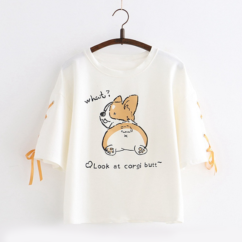 Modakawa T-Shirt Corgi Dog Letter Lace T-shirt