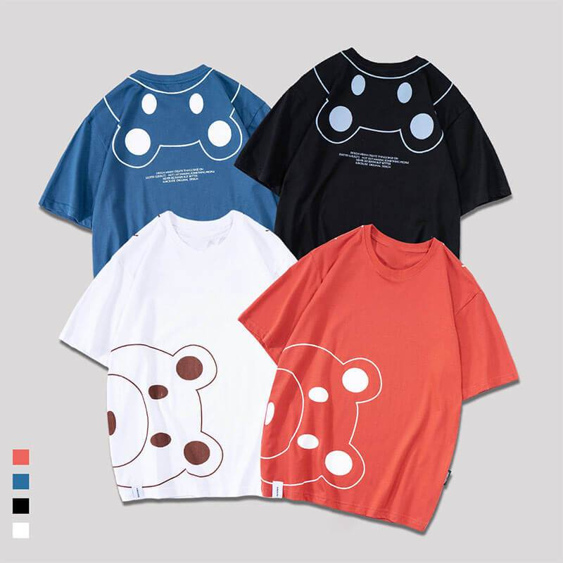 Modakawa T-Shirt Cute Bear Cartoon Print Loose T-Shirt