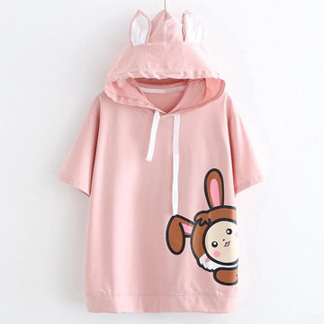 Modakawa T-Shirt Cute Bunny Summer Hooded T-shirt