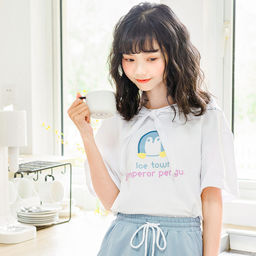 Modakawa T-Shirt Cute Penguin Print T-shirt