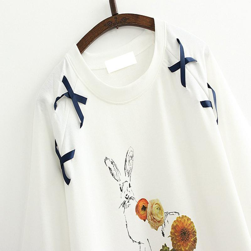 Modakawa T-Shirt Cute Rabbit Embroidered Loose Lace T-Shirt