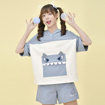 Modakawa T-Shirt Cute Shark Pocket Hooded T-Shirt Drawstring Shorts Set