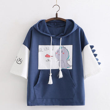 Modakawa T-Shirt Dark Blue / One Size Cute Dinosaur Print Drawstring Hooded T-shirt