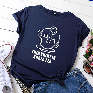 Modakawa T-Shirt Dark Blue / S THIS SHIRT IS KOALA TEA Print Cotton T-Shirt