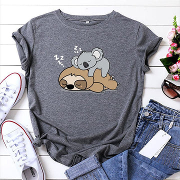 Modakawa T-Shirt Dark Gray / S Koala Cartoon Print Cotton T-Shirt