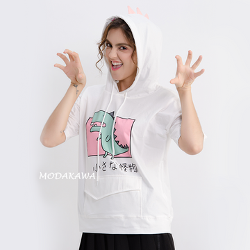 Modakawa T-Shirt Dinosaur Front Pocket Hooded T-shirt